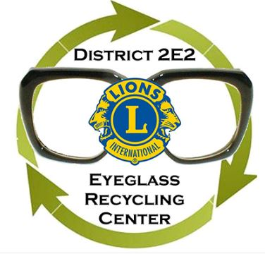 District 2E2 Eyeglass Recycling Center Logo